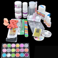 Hot Acrylic Powder Liquid Kit Primer UV Nail Art Tip Set Dust Sticker Brush