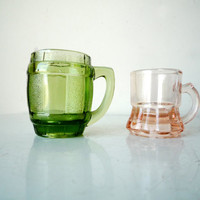 Midcentury Glass His and Hers Shot Glasses 1 Green 1 Pink, SALE
