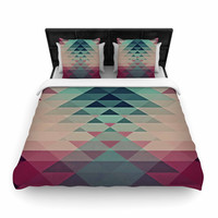 "Nika Martinez ""Hipster"" Maroon Teal Woven Duvet Cover"
