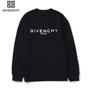Givenchy fashion sells casual monogram printed round-neck long-sleeved hoodies for couples Black