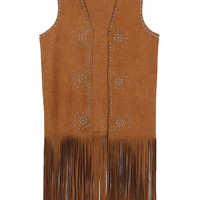 Brown Suedette Beaded Fringe Hem Vest