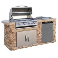 Cal Flame, 7 ft. Stone Grill Island with 4-Burner Stainless Steel Propane Gas Grill, LBK-701-S-O-H at The Home Depot - Mobile