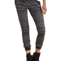 Black Combo Tribal Patterned Jogger Pants by Charlotte Russe
