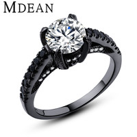 MDEAN Wedding Ring Black Gold plated CZ diamond Jewelry engagement Bague rings For Women vintage bijoux accessories MSR336