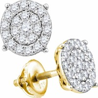 10kt Yellow Gold Women's Round Diamond Cindy's Dream Cluster Earrings 1-2 Cttw - FREE Shipping (US/CAN)