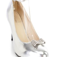 Silver Rhinestone Bow Tie Ankle Strap Heels Faux Leather