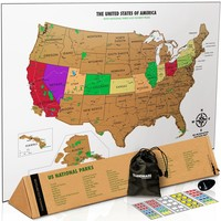 Scratch Off Map Of The USA with National Parks - White & Gold Travel Tracker Map® - 17 (h) x 24 (w) inches - Scratch Off Map Of The United States - Perfect Travel Gift