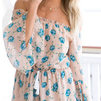 Off Shoulder Floral Print Chiffon Dress 11568