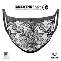 Black and White Geometric Floral - Made in USA Mouth Cover Unisex Anti-Dust Cotton Blend Reusable & Washable Face Mask with Adjustable Sizing for Adult or Child