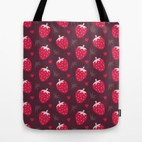STRAWBERRIES AND CHOCOLATE Tote Bag by Daisy Beatrice