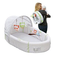 Portable Owl Theme Baby Lounge with Activity Bar and Rattle Toys