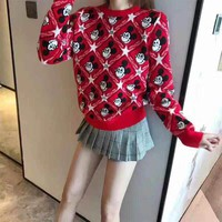 """Gcds"" Women Multicolour All-match Fashion Mickey Mouse Letter Logo Cartoon C Long Sleeve Sweater Tops"