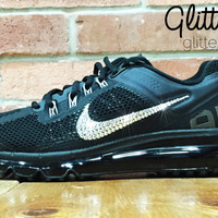 Nike Air Max 360 Running Shoes By Glitter Kicks - Customized With Swarovski Crystal Rhinestones - Black/Black