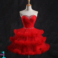 Short Red Puffy Prom Dress, Tulle Red Prom Homecoming Dress, Sexy Short Beaded Prom Dress, Elegant Ball Gown Prom Cocktail Homecoming Dress