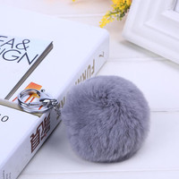 100% Real Rabbit Fur Key Chain Cute Car Keychain - Good Quality Fur Pm Pom Pompom Key Ring For Women Bag Gift Jewelry #16003-1