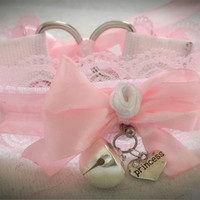 Pink & White Princess Bell Kitten Play Rose BDSM Sub Collar