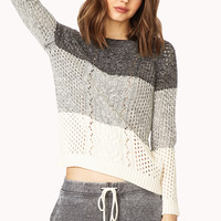 Colorblocked Cable Knit Sweater