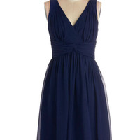 ModCloth Long Sleeveless A-line Glorious Guest Dress in Navy