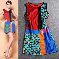 Color Block Mosaic Sleeveless A-Line Mini Dress