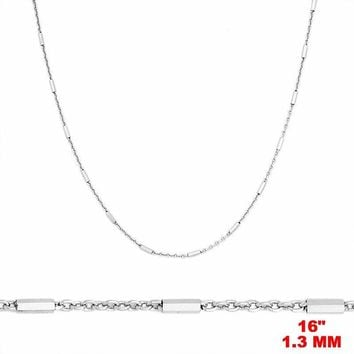 """14k White Gold / 925 Sterling Silver Bar & Cable Italian Necklace Chain- 1.3 mm 16 """""""
