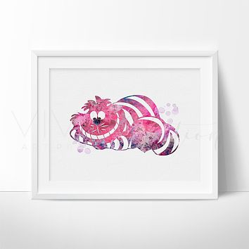 Cheshire Cat, Alice in Wonderland Watercolor Art Print