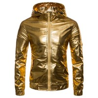 Trendy jacket men 2018 Men's Clothing Personality gold and silver hooded jacket night club youth hip-hop casual clothes singer costumes AT_94_13