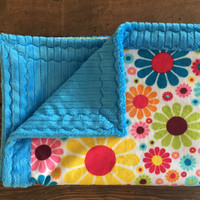 "Sunshine flowers with turquoise minky baby blanket (30"" x 36"")"
