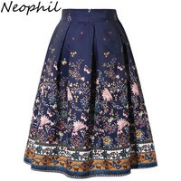 Neophil Summer 2016 Womens Midi Skater Skirts Pleated Floral Print Ethnic Elastic High Waist Vintage Flared Saias Jupes S1607002