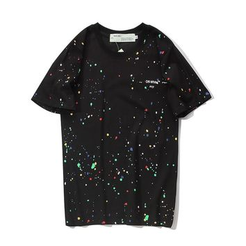 OFF-WHITE Fashion Casual New Starry Polka Dot Street Street Hip Hop Short Sleeve T-Shirt