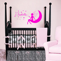 Housewares Girl Nursery Room Personalized Name Fairy Moon Stars Wall Vinyl Decal Sticker Kids Nursery Baby Room Decor V323