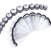 BodyJ4You Gauges Kit 12 Pairs Clear Acrylic Tapers & Plugs 00G 12mm 14mm 16mm 18mm 20mm 24 Pieces