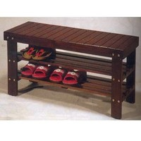 Legacy Decor Wooden Shoe Bench Walnut Color