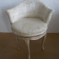 Beautiful Mid century  french style Bergere carved swivel vanity chair