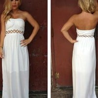 White Strapless Maxi Dress with Open Weave Cutout Detail