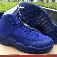 Air Jordan 12 Premium Deep Royal Blue Suede Wool Black Nylon Basketball Shoes