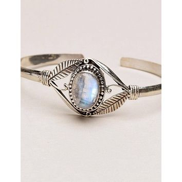 Tibetan Rainbow Moonstone Bracelet - One of a Kind