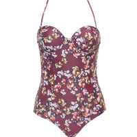 Beach Riot The Riviera Burgundy Floral One-Piece Swimsuit