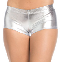 Faux Booty Shorts Silver