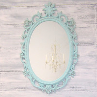 SHABBY CHIC NURSERY Teal Blue Decor Baby Girl Nursery Decor Oval Mirror Ornate White Decorative Unique Gift New Baby Gift