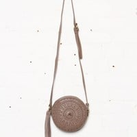 Whip Stitch Circle Crossbody Bag - Taupe