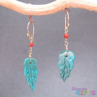 """Red coral with turquoise leaf, 1-1/4"""" Earring Gold Or Silver"""