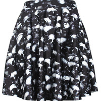 Skull Print Pleated Mini Skirt