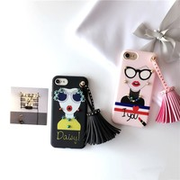 Korean Style Rivet Tassels Pendant Case for iPhone 7 7plus 6 6s 6plus Soft TPU Back Case Funda Fashion Sunglasses Girl Painting