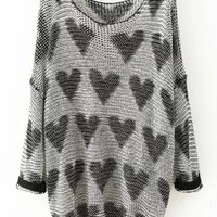 Grey Heart Print Knitted Long Sleeve Sweater