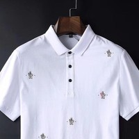 Moncler 2019 new men's fashion lapel POLO shirt half-sleeved T-shirt white