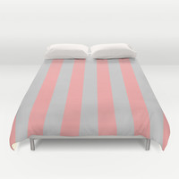 Stripe Vertical Gray Coral Pink Duvet Cover by BeautifulHomes | Society6