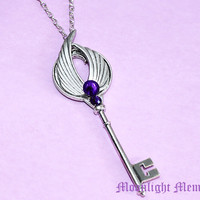 Sailor Moon Necklace - Sailor Saturn Silence Glaive - Purple Swarovski Crystal Silver Wing Key Sailor Moon Necklace Jewelry Christmas Gift