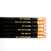 Gentle Reminders Pencils Black Set of 6 by AmandaCatherineDes