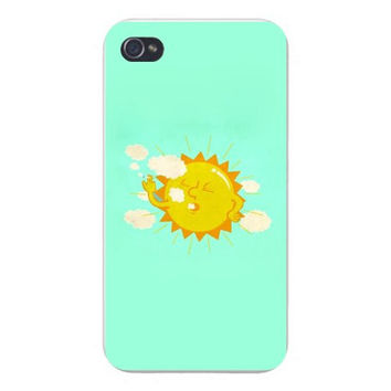 Apple Iphone Custom Case 4 4s Plastic Snap on - Sun w/ Face n Cigarette Creating Clouds