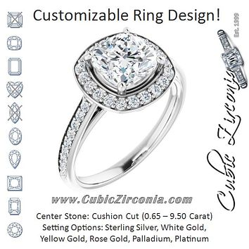 Cubic Zirconia Engagement Ring- The Natascha Eva (Customizable Cathedral-raised Cushion Cut Halo-and-Accented Band Design)